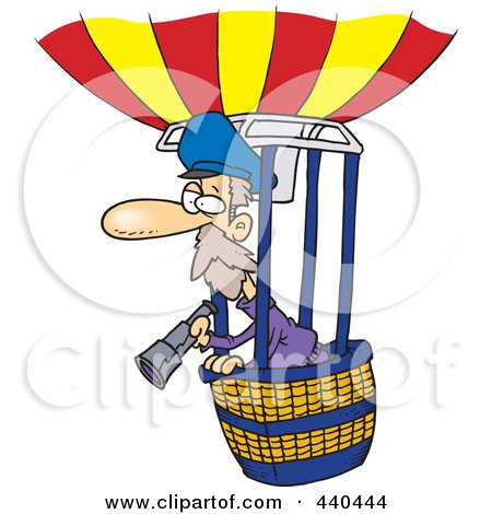 Royalty-Free (RF) Clip Art Illustration of a Cartoon Balloonist Using A Telescope by toonaday
