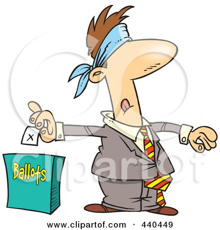 Royalty-Free (RF) Clip Art Illustration of a Cartoon Blindfolded Man Putting His Vote Into A Ballot Box by toonaday