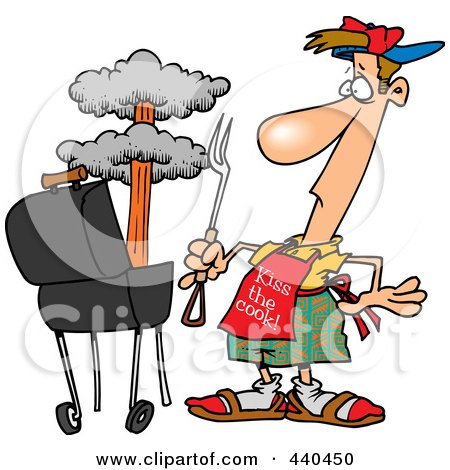 Royalty-Free (RF) Clip Art Illustration of a Cartoon Man Watching An Explosion In His Bbq by toonaday