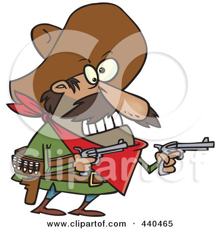 Royalty-Free (RF) Clip Art Illustration of a Cartoon Mexican Bandito Holding Pistols by toonaday
