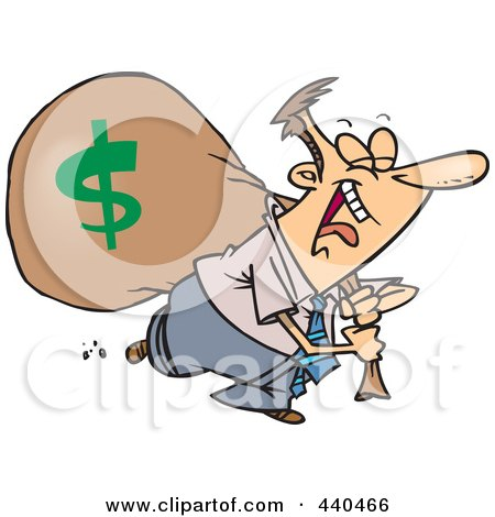 Royalty-Free (RF) Clip Art Illustration of a Cartoon Businessman Laughing On His Way To The Bank by toonaday