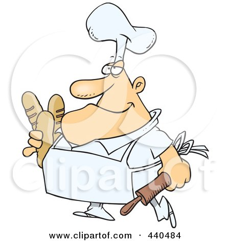 Royalty-Free (RF) Clip Art Illustration of a Cartoon Male Baker Carrying Bread by toonaday