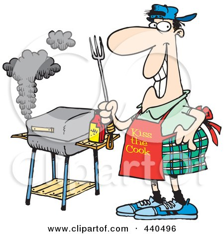 Royalty-Free (RF) Clip Art Illustration of a Cartoon Man Standing By His Bbq by toonaday