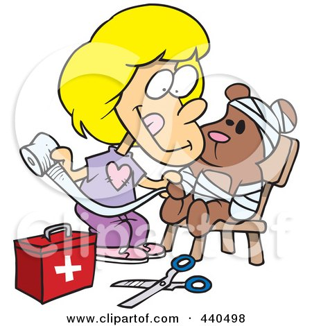 Royalty-Free (RF) Clip Art Illustration of a Cartoon Boy Hugging His Mangled
