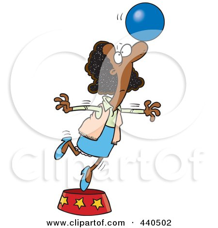 Royalty-Free (RF) Clip Art Illustration of a Cartoon Black Businesswoman Balancing A Ball On Her Nose by toonaday
