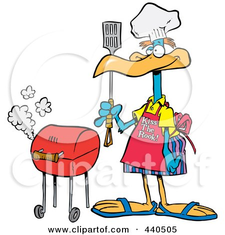 Royalty-Free (RF) Clip Art Illustration of a Cartoon Bird Standing By His Bbq by toonaday