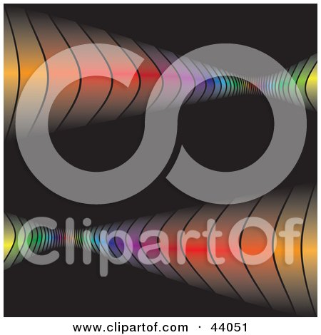 Clipart Illustration of Rainbow Waves Bouncing Off Of A Black Background by Arena Creative