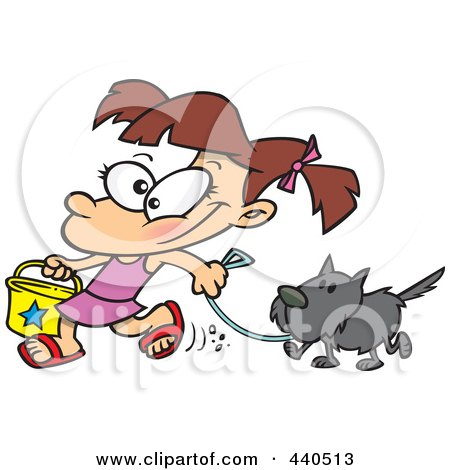 Royalty-Free (RF) Clip Art Illustration of a Cartoon Summer Girl Walking Her Dog On The Beach by toonaday
