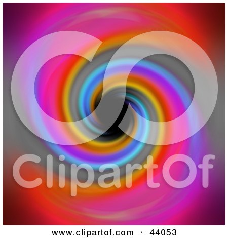 Clipart Illustration of a Swirling Rainbow Background Spiraling Into A Black Hole by Arena Creative