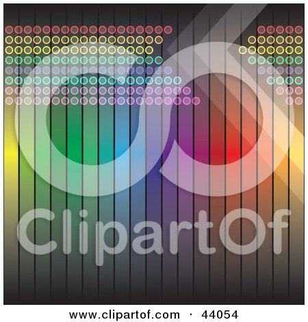 Clipart Illustration of an Arrow In A Rainbow Line Of Circles On A Vertical Rainbow Background by Arena Creative