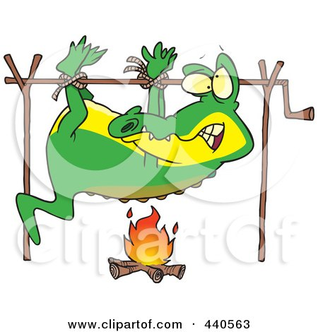 Royalty-Free (RF) Clip Art Illustration of a Cartoon Alligator Cooking Over A Camp Fire by toonaday