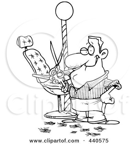 Royalty-Free (RF) Clip Art Illustration of a Cartoon Black And White Outline Design Of A Male Barber Standing By His Chair And Holding Up Scissors by toonaday