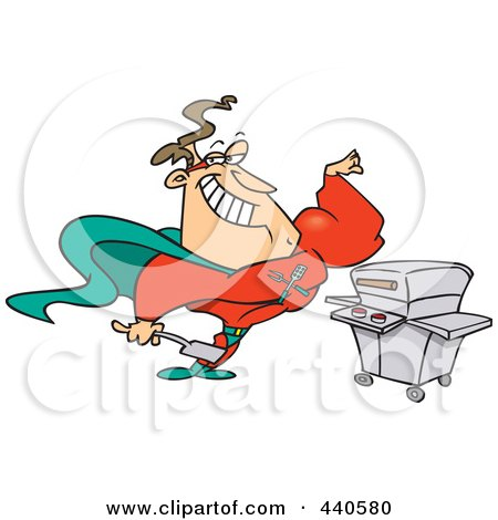 Royalty-Free (RF) Clip Art Illustration of a Cartoon Super Hero Man Standing By His Bbq by toonaday