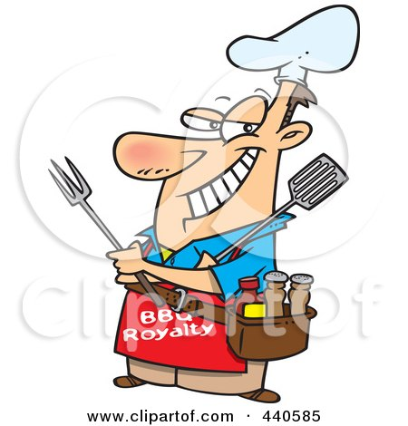 Royalty-Free (RF) Clip Art Illustration of a Cartoon Man Wearing A Bbq Royalty Apron by toonaday
