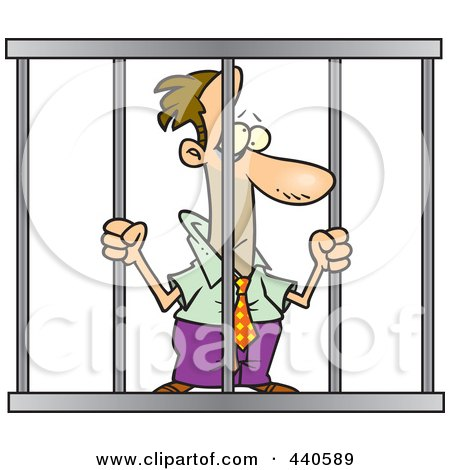 Royalty-Free (RF) Clip Art Illustration of a Cartoon Businessman Behind Bars by toonaday