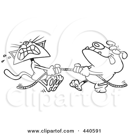 Royalty-Free (RF) Clip Art Illustration of a Cartoon Black And White Outline Design Of A Bull Dog And Cat Playing Tug Of War by toonaday