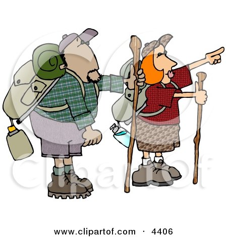 Male and Female Hikers Hiking with Backpacks, Canteens, Sleeping Bags, and Walking Sticks Posters, Art Prints