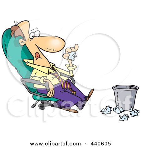 Royalty-Free (RF) Clip Art Illustration of a Cartoon Lazy Businessman Sitting In A Chair And Tossing Papers In A Waste Basket by toonaday