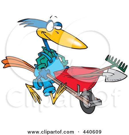 Royalty-Free (RF) Clip Art Illustration of a Cartoon Bird Landscaper Pushing A Wheel Barrow by toonaday