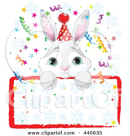 Royalty-Free (RF) Clip Art Illustration of a Cute Bunny Birthday Party Invitation With A Blank Sign by Pushkin