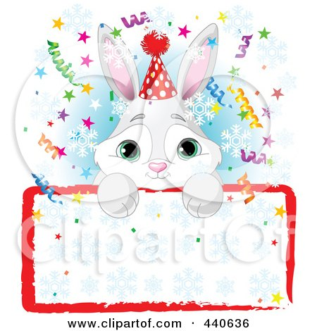 Royalty-Free (RF) Clip Art Illustration of a Cute Bunny Birthday Party Invitation With A Blank Sign Over Blue by Pushkin