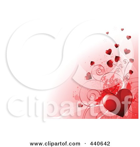 Royalty-Free (RF) Clip Art Illustration of a Red Shiny Heart With Vines And Tiny Hearts Over Gradient Pink And White by Pushkin