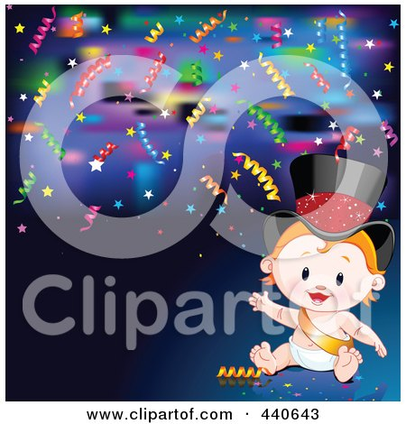 Royalty-Free (RF) Clip Art Illustration of a New Years Baby With Confetti On Blue by Pushkin