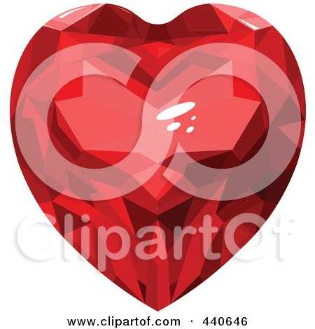 Royalty-Free (RF) Clip Art Illustration of a Shiny Red Ruby Heart by Pushkin