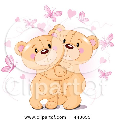 Royalty-Free (RF) Clip Art Illustration of Cute Teddy Bears Hugging Under Hearts And Butterflies Over Pink by Pushkin