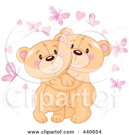 Royalty-Free (RF) Clip Art Illustration of Cute Teddy Bears Hugging Under Hearts And Butterflies by Pushkin