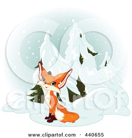 Royalty Free RF Clip Art Illustration Of A Cute Fox Sitting By Evergreens In The Snow