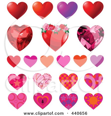 Royalty-Free (RF) Clip Art Illustration of a Digital Collage Of Patterned Hearts by Pushkin