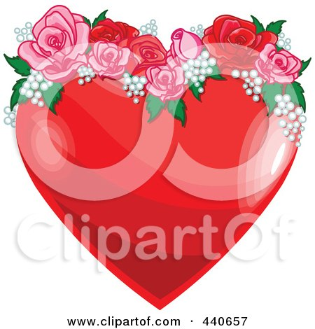Royalty-Free (RF) Clip Art Illustration of a Shiny Red Heart With Pink And Red Roses by Pushkin