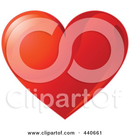 Royalty-Free (RF) Clip Art Illustration of a Shiny Light Red Valentine Heart by Pushkin
