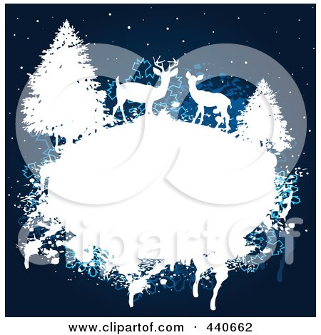 Royalty-Free (RF) Clip Art Illustration of a Grungy White Frame With Deer And Evergreens Over A Blue Winter Background by Pushkin
