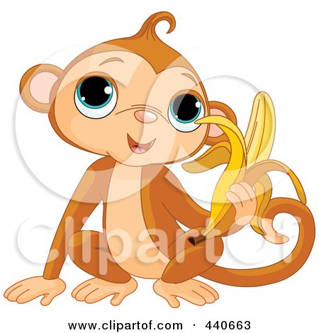 Royalty-Free (RF) Clip Art Illustration of a Monkey Eating A Banana by Pushkin