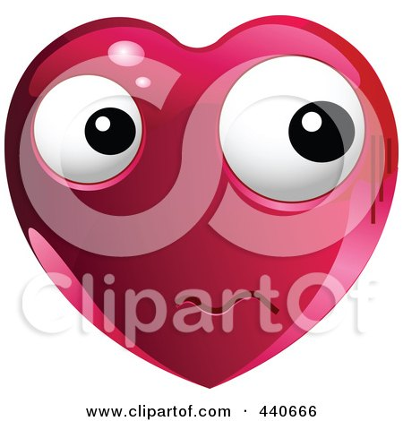 Royalty-Free (RF) Clip Art Illustration of a Nervous Red Heart Character by Pushkin