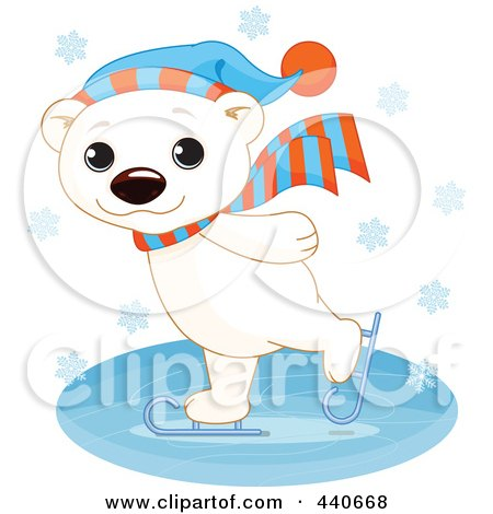 Royalty-Free (RF) Clip Art Illustration of a Cute Polar Bear Ice Skating In The Snow by Pushkin
