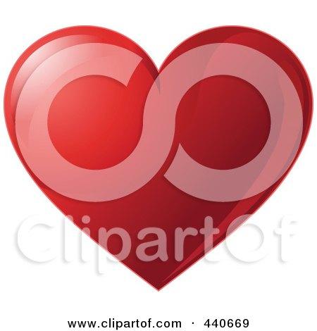 Royalty-Free (RF) Clip Art Illustration of a Shiny Dark Red Valentine Heart by Pushkin