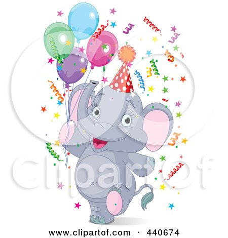 Royalty-Free (RF) Clip Art Illustration of a Birthday Party Elephant With Confetti And Balloons by Pushkin