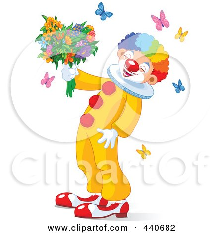 Royalty-Free (RF) Clip Art Illustration of a Laughing Clown Holding Flowers And Surrounded By Butterflies by Pushkin
