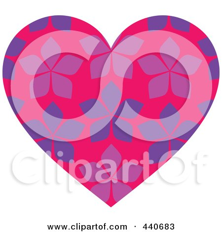 Royalty-Free (RF) Clip Art Illustration of a Pink Floral Patterned Heart by Pushkin