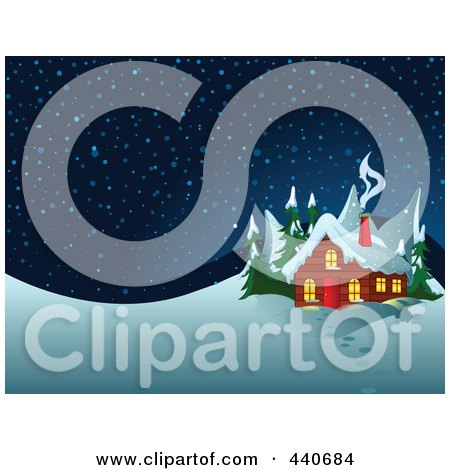 Royalty-Free (RF) Clip Art Illustration of Smoke Rising From A Winter Cabin's Chimney At Night by Pushkin