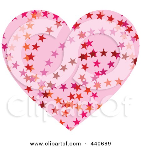 Royalty-Free (RF) Clip Art Illustration of a Light Pink Starry Heart by Pushkin