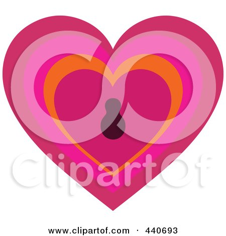 Royalty-Free (RF) Clip Art Illustration of a Pink Keyhole Heart by Pushkin