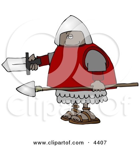 African American Roman Soldier Armed With A Spear And Sword Clipart