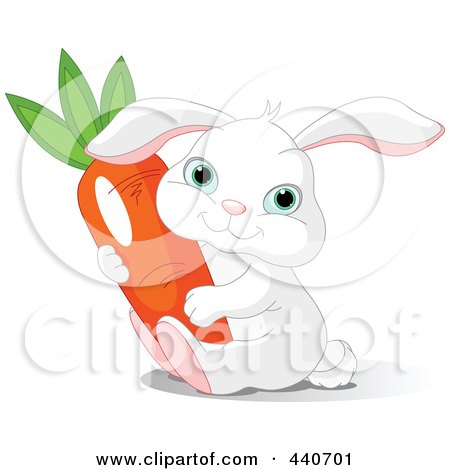 Royalty-Free (RF) Clip Art Illustration of a Chubby White Bunny Holding A Carrot by Pushkin