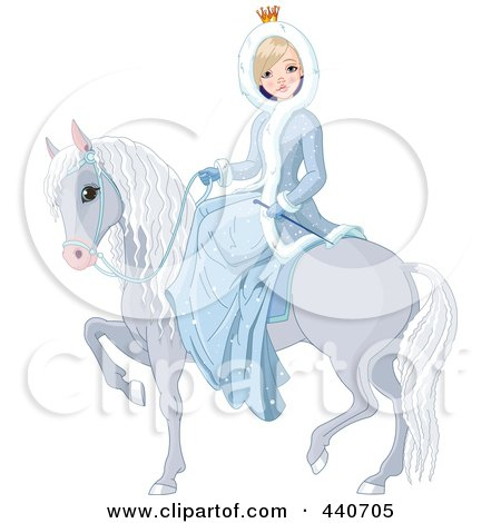 Winter Princess On A Gray Horse Posters, Art Prints