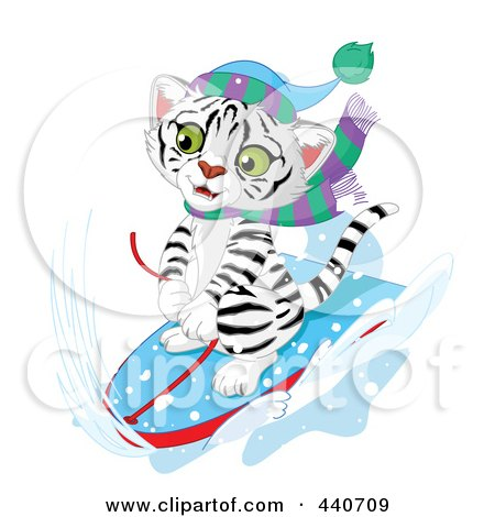 Royalty-Free (RF) Clip Art Illustration of a Cute White Tiger Sledding In The Snow by Pushkin