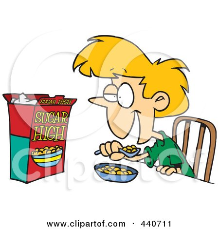 Royalty-Free (RF) Clip Art Illustration of a Cartoon Girl Eating Sugary Cereal by toonaday